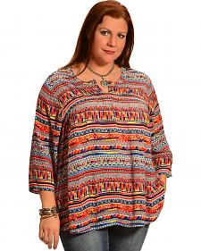 New Direction Sport Women's Hidden Placket Print Shirt - Plus Size