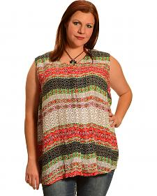 New Direction Sport Women's Sleeveless Print Shirt - Plus Size