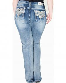 Gracein LA Embroidered Bootcut Jeans - Plus Size