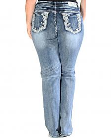 Grace in LA Light Wash Floral Pocket Bootcut Jeans - Plus Size