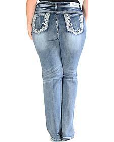 Grace in LA Light Wash Floral Pocket Bootcut Jeans - Plus Size