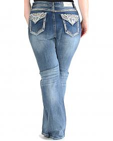 Gracein LA Embroidered Flap Pocket Bootcut Jeans - Plus Size