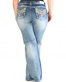 Grace in LA Light Wash Chevron Pocket Bootcut Jeans - Plus Size