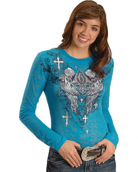 Rock & Roll Cowgirl Fleur-De-Lis Wing Burnout Tee