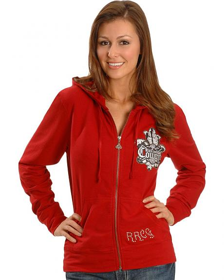 Rock & Roll Cowgirl Embellished Fleur-De-Lis Crown Hoodie
