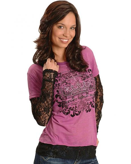 Cowgirl Tuff Mock Layered Screen Print Tee