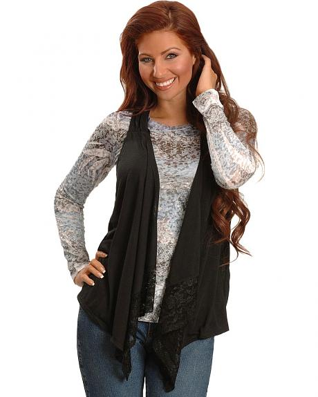 Cowgirl Tuff Black Sleeveless Lace Cardigan