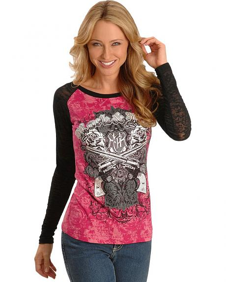 Rock & Roll Cowgirl Crossed Pistols & Roses Screen Print Tee