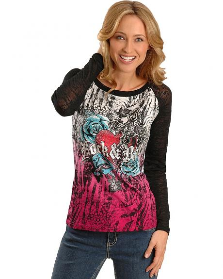 Rock & Roll Cowgirl Rose & Heart Burnout Sleeves Tee