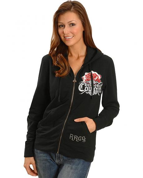Rock & Roll Cowgirl Rose, Heart & Peace Sign Hoodie