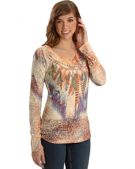 Panhandle Slim Feather & Leopard Print Sublimination Tee