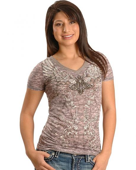 Miss Me Embellished Wing Crackle Print Tee