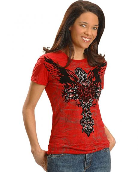 Rock & Roll Cowgirl Flocked Wings, Cross & Heart Burnout Tee