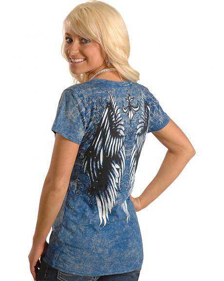 Rock & Roll Cowgirl Embellished Wing & Fleur-de-Lis Print Tee