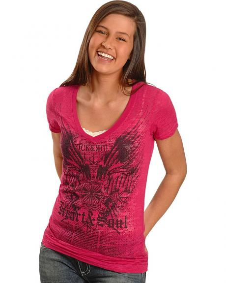 Rock & Roll Cowgirl Wing and Crest Burnout Tee