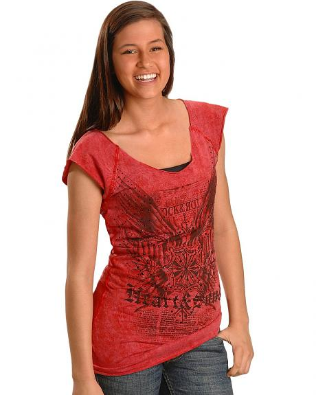 Rock & Roll Cowgirl Crest Wing Screen Print Tee