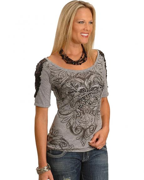 Cowgirls & Diamonds Sequin Shoulder Print Tee