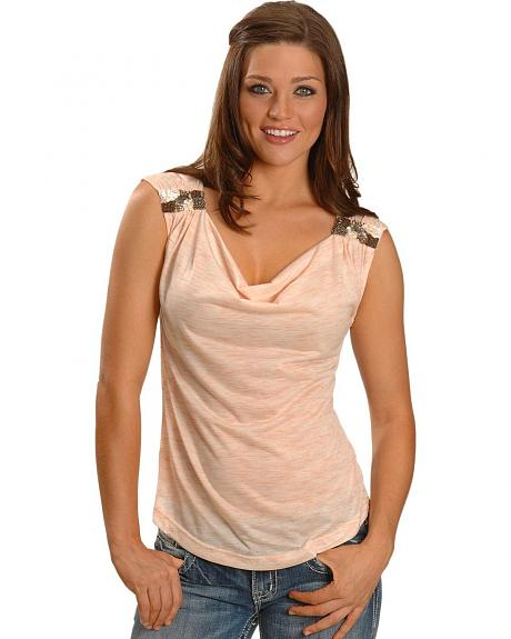 Miss Me Cowl Neck Embellished Tee