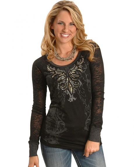 Miss Me Graphic Long Sleeve Burnout Top