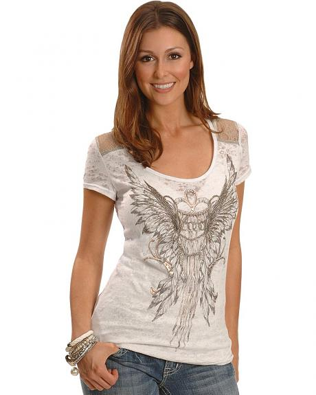 Miss Me Beaded Wings & Lace Yoke Burnout Tee