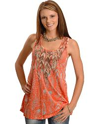 Miss Me Burnout Feather Print Flow Tank at Sheplers
