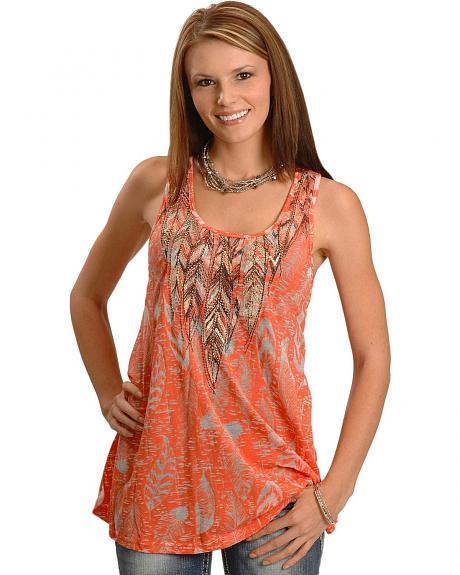 Burnout Feather Print Flow Tank