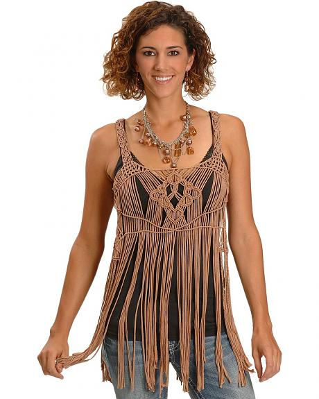 Miss Me Hand Woven Fringe Layer Tank