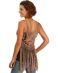 Miss Me Hand Woven Fringe Layer Tank at Sheplers