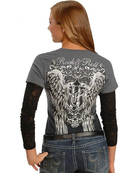 Rock & Roll Cowgirl Wings with Rhinestones Dip Dyed Long Sleeve Tee