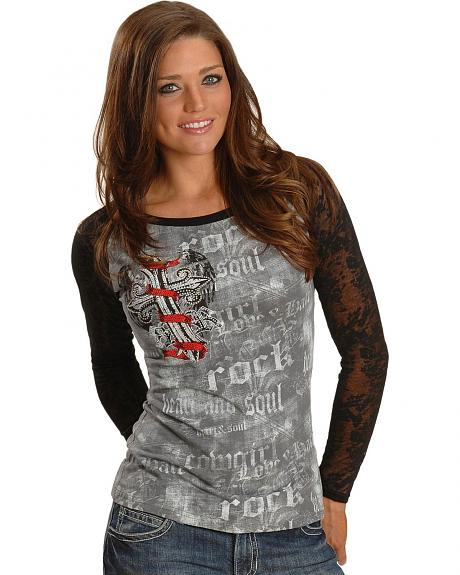 Rock & Roll Cowgirl Cross & Wings Baseball Tee
