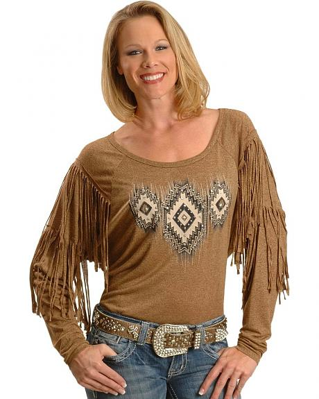 Miss Me Aztec Print Fringe Long Sleeve Top