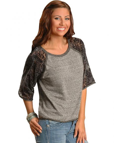 Miss Me Three-Quarter Sleeve Baseball Style Top