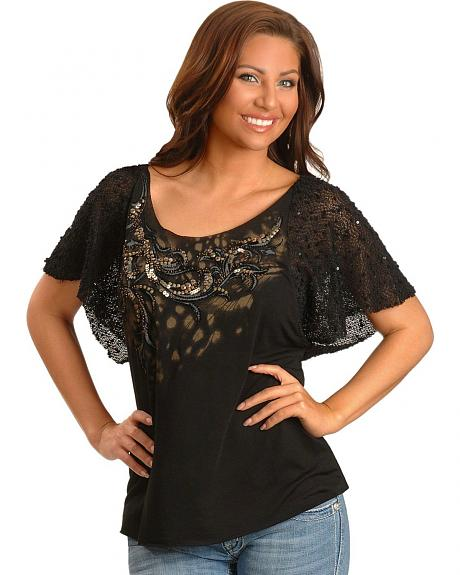 Miss Me Sequin Embellished Crochet Sleeve Top