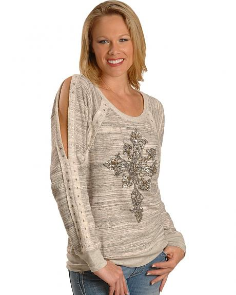 Miss Me Beaded Knit Open Seam Long Sleeve Top