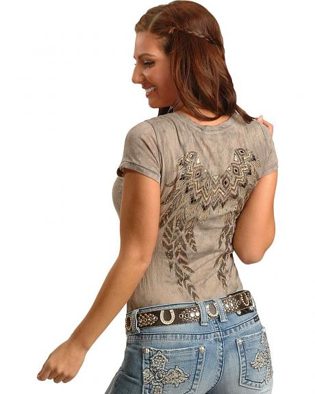 Miss Me Native American Embellished Burn Out Short Sleeve Top