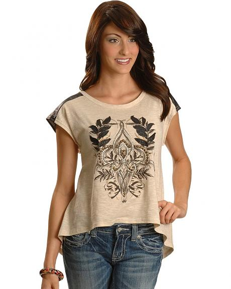 Miss Me Feather Applique Studded Cap Sleeve Tee