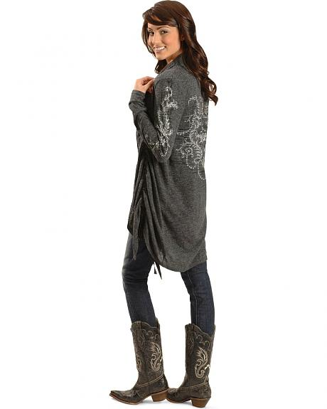 Miss Me Embellished Ruched Long Sleeve Duster Cardigan