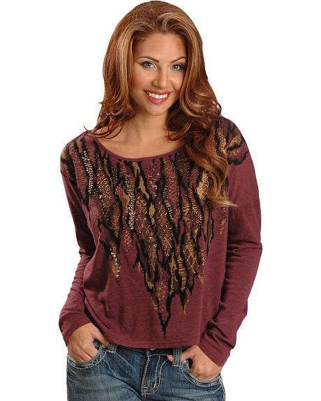 Miss Me Feather Embellished Ruched Back with Tie Long Sleeve Top