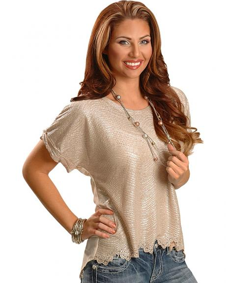 Miss Me Shimmer Sheer Short Sleeve Top