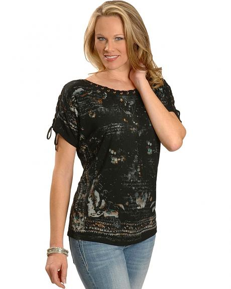 Miss Me Laced Eyelet Short Sleeve Top