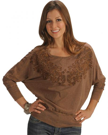 Katydid Three-Quarters Sleeve Scrolling Applique Overlay Top