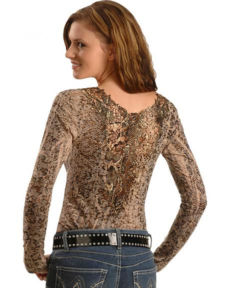 Panhandle Slim Animal Print Lace Back Long Sleeve Top