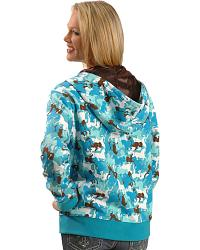 Cowgirl Hardware Horse Camo Print Zip Hoodie at Sheplers