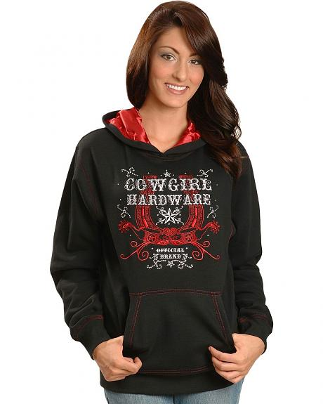 Cowgirl Hardware Rhinestone Embellished Spurs and Horseshoe Pullover Hoodie