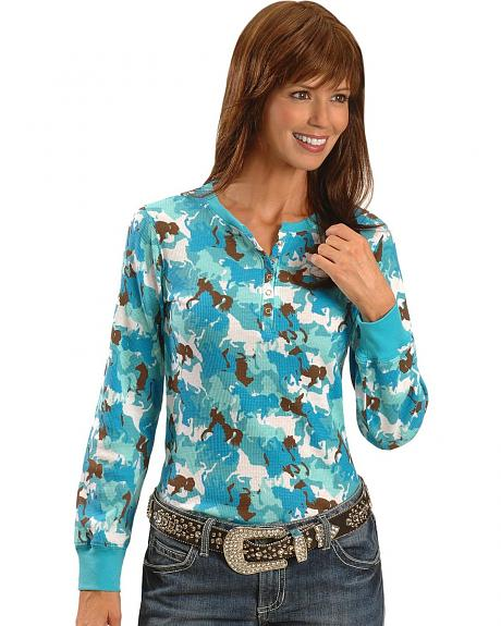 Cowgirl Hardware Horse Camo Thermal Tee