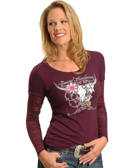 Cowgirl Hardware Rhinestone Embellished Flower & Skull Long Sleeve Tee