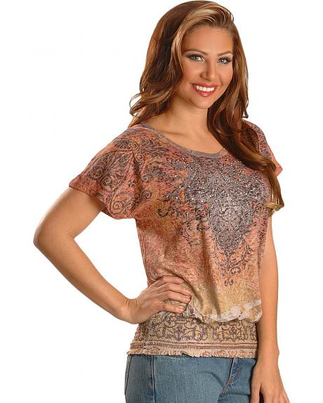 Katydid Studded Sublimation Print Burnout Top
