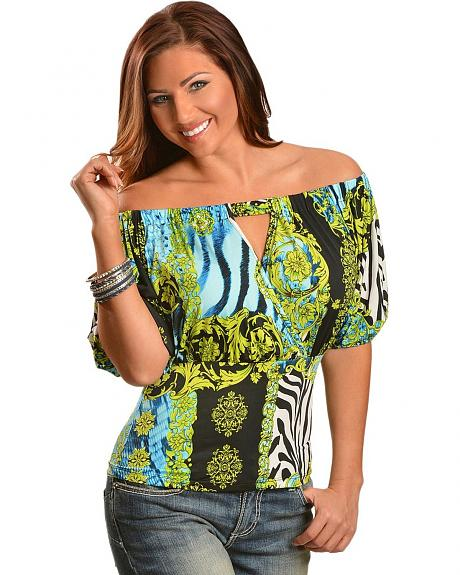 Panhandle Slim Zebra, Floral & Scroll Off-The-Shoulder Top