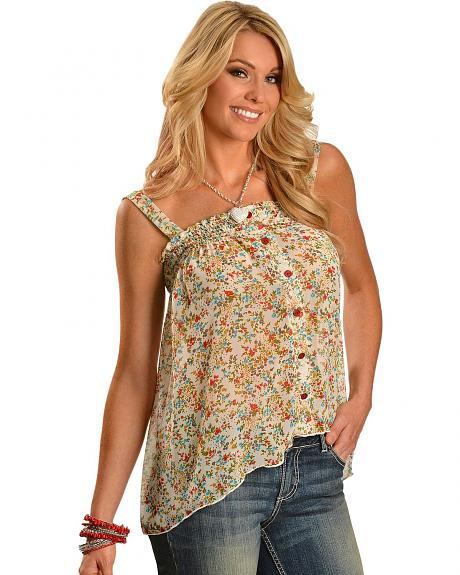 Panhandle Slim Floral Smocked Tank Top