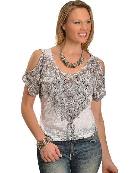 Panhandle Slim Embellished Cut Out Shoulder Top